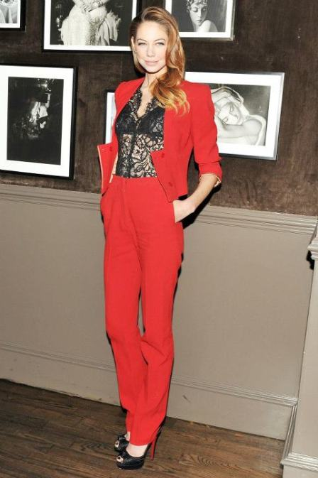 Wonderful Women Red Elegant Pants Suit 2015 Top Fashion Bat Sleeve Womens Suits